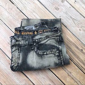 Rock Revival Steven Straight Tie Dye Gray Wash